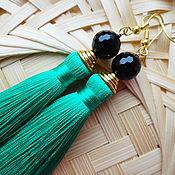 Украшения handmade. Livemaster - original item Earrings brush Anastasia silk, natural agate. Handmade.