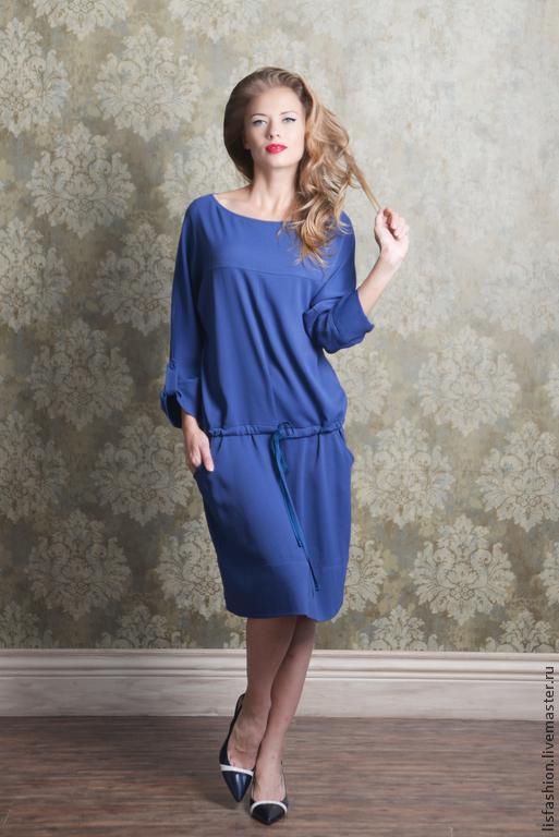 Платья ручной работы. Ярмарка Мастеров - ручная работа. Купить Платье Анабель 4180827. Handmade. Синий, платье для офиса