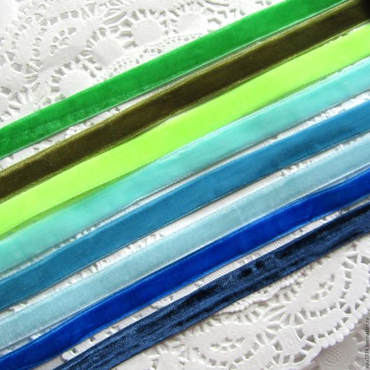 Шитье ручной работы. Ярмарка Мастеров - ручная работа. Купить Лента бархатная 10 мм,сине-зелёные тона. Handmade.