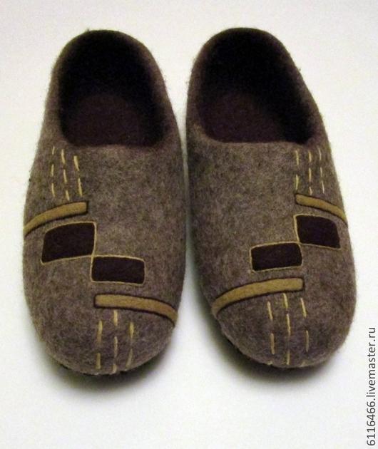 """Обувь ручной работы. Ярмарка Мастеров - ручная работа. Купить домашние валяные тапочки из натуральной шерсти """"Для него"""". Handmade."""