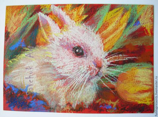 Животные ручной работы. Ярмарка Мастеров - ручная работа. Купить Картина пастелью Белый крольчонок и желтые тюльпаны. Для детской.. Handmade.