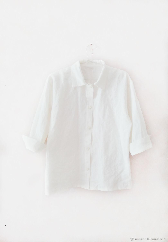 Блузки ручной работы. Магазин Французское платье. Купить рубашку белую из льна с длинным рукавом летнюю блузку большого размера. Одежда для женщин. Базовый гардероб. Бохо стиль. Интернет магазин блуз.