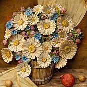 Картины и панно ручной работы. Ярмарка Мастеров - ручная работа Ромашки - тарелка резная деревянная. Handmade.