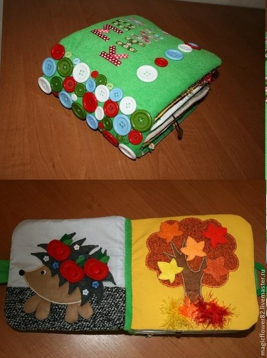 Развивающие игрушки ручной работы. Ярмарка Мастеров - ручная работа. Купить Зелёная книга. Handmade. Развивающая книга, мелкая моторика