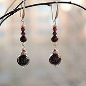 Украшения handmade. Livemaster - original item Long silver earrings with garnet