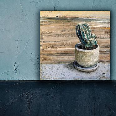 Картины и панно ручной работы. Ярмарка Мастеров - ручная работа Картина Кактус ( бежевый, голубой. изумрудный). Handmade.