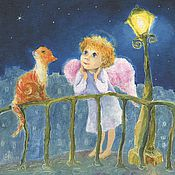 Картины и панно handmade. Livemaster - original item Angel Red cat and Lantern Print Reproduction on the picture. Handmade.