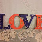 """Для дома и интерьера ручной работы. Ярмарка Мастеров - ручная работа Интерьерная табличка """"LOVE"""". Handmade."""