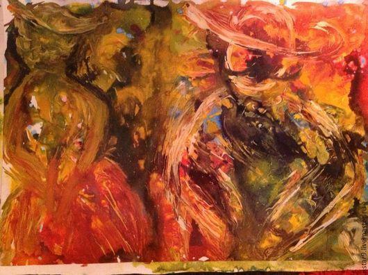 Абстракция ручной работы. Ярмарка Мастеров - ручная работа. Купить Испания,двое.Скидка!. Handmade. Ярко-красный