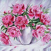 Картины и панно ручной работы. Ярмарка Мастеров - ручная работа Цветы пионы в вазе картины цветов с пионами. Handmade.
