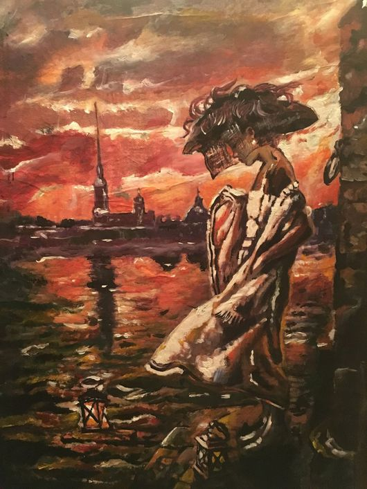 Люди, ручной работы. Ярмарка Мастеров - ручная работа. Купить Картина На берегу Невы. Handmade. Девушка, картина для интерьера