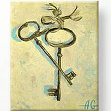 Картины и панно ручной работы. Ярмарка Мастеров - ручная работа Картина маслом Два ключа. Живопись маслом на холсте.. Handmade.
