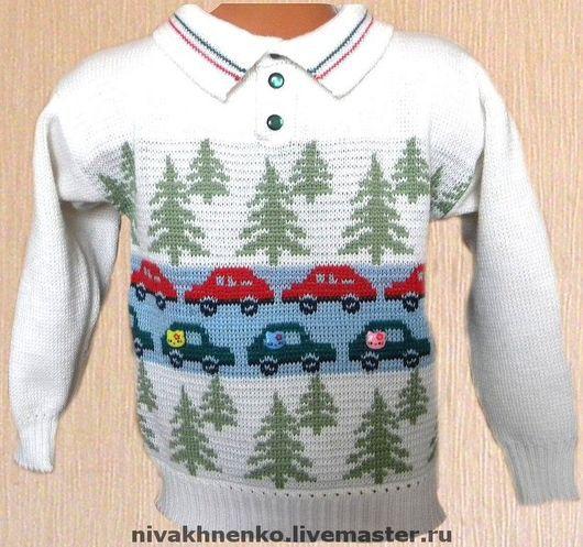Clothes for Boys handmade. Livemaster - handmade. Buy Sweater knitted children's 'Cars'.For children, jacquard, for boys
