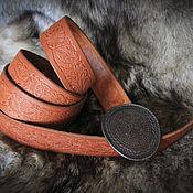Аксессуары handmade. Livemaster - original item Red women`s belt with an oval buckle. Handmade.