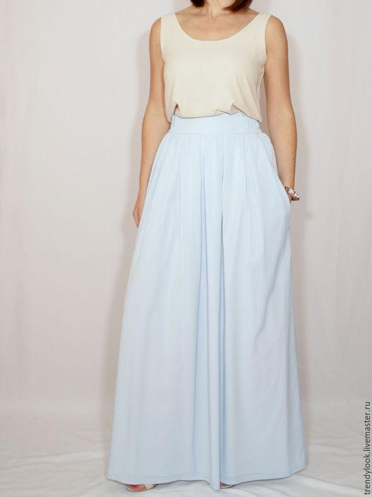 Юбки ручной работы. Ярмарка Мастеров - ручная работа. Купить Светло-голубая юбка, шифоновая юбка, длинная юбка с карманами. Handmade.