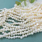 Материалы для творчества handmade. Livemaster - original item Thread 18 cm Natural pearls. the number of forms is approx. 5 mm white (5631). Handmade.