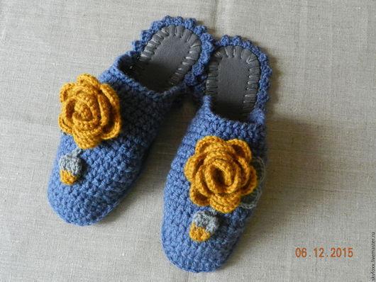 """Обувь ручной работы. Ярмарка Мастеров - ручная работа. Купить """"Горчичные Розы"""" тапочки (подошва валяная). Handmade. Серый, джинс"""