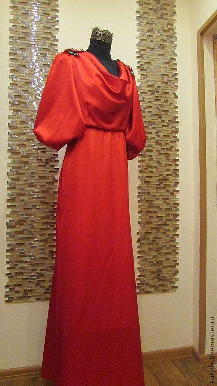 """Платья ручной работы. Ярмарка Мастеров - ручная работа. Купить Авторское платье """"Red"""". Handmade. Ярко-красный, русский стиль"""