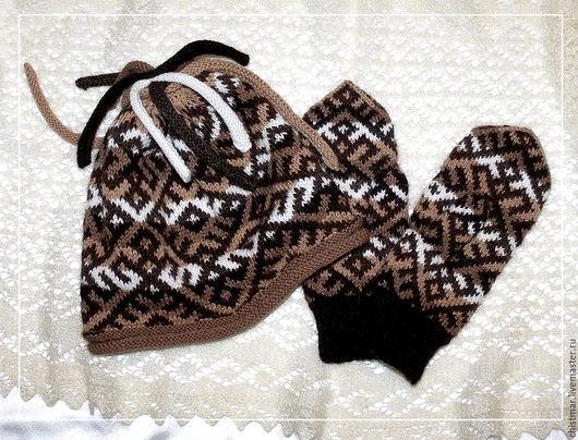 Этническая одежда ручной работы. Ярмарка Мастеров - ручная работа. Купить Комплект шапочка+варежки. Handmade. Комбинированный, вязание спицами