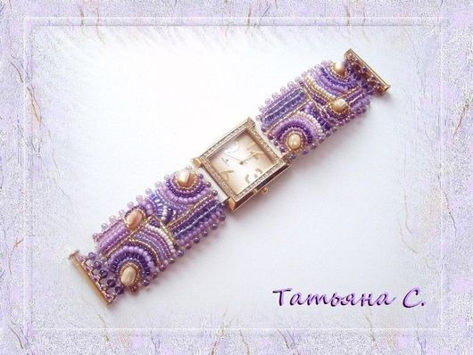 """Часы ручной работы. Ярмарка Мастеров - ручная работа. Купить Браслет для часов """"Время мечтать"""". Handmade. Часы, Вышивка бисером"""