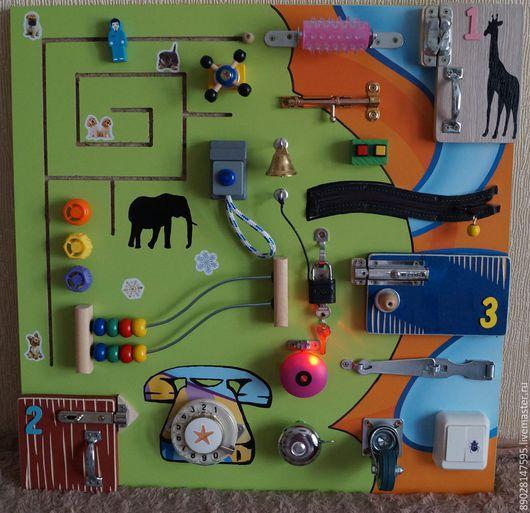 Развивающие игрушки ручной работы. Ярмарка Мастеров - ручная работа. Купить РАЗВИВАЮЩАЯ ДОСКА. Handmade. Разноцветный, развивающие игры