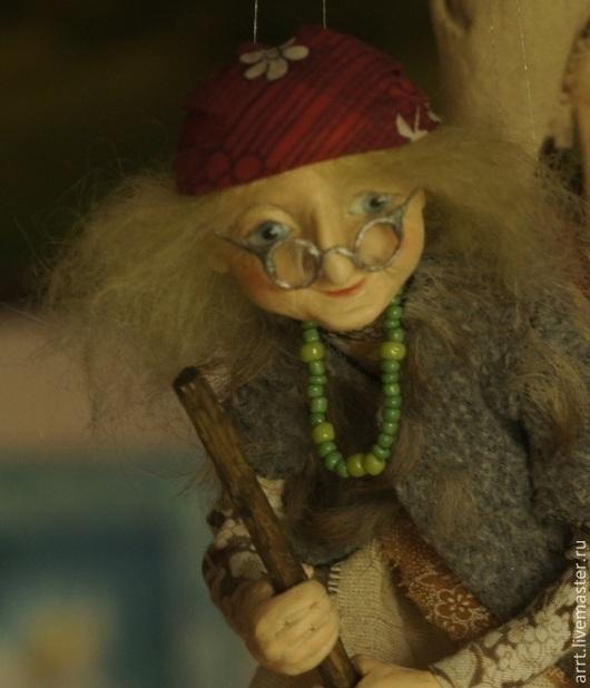 Сказочные персонажи ручной работы. Ярмарка Мастеров - ручная работа. Купить Бабка Ежка Авторская кукла. Handmade. Оливковый, дерево
