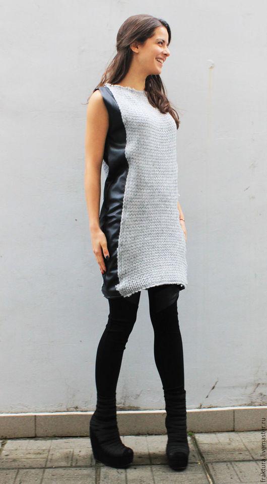 """Платья ручной работы. Ярмарка Мастеров - ручная работа. Купить Платье/ Туника """"Leather Knit"""" D0013. Handmade. Модные платья"""