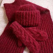 Аксессуары ручной работы. Ярмарка Мастеров - ручная работа Шапка, шарф и варежки из мохера. Handmade.
