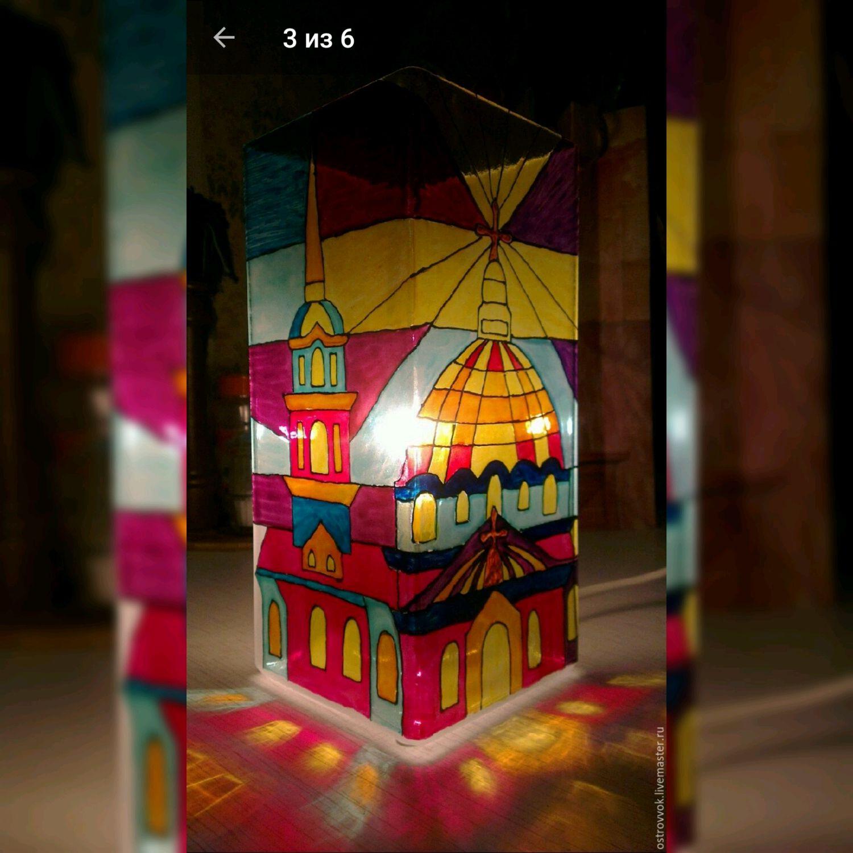 Лампы с витражной росписью, Потолочные и подвесные светильники, Москва,  Фото №1