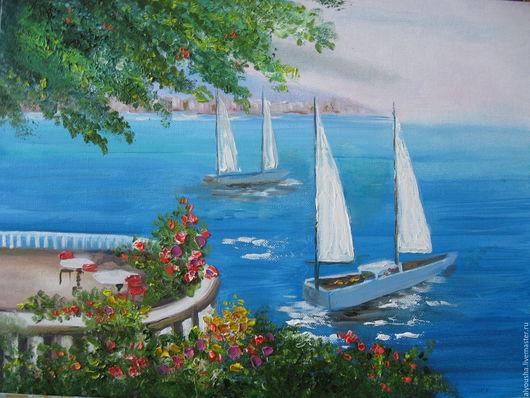 """Пейзаж ручной работы. Ярмарка Мастеров - ручная работа. Купить Картина  маслом""""  Морской пейзаж"""". Handmade. Синий, подарок для интнрьера"""