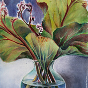 Картины и панно ручной работы. Ярмарка Мастеров - ручная работа Натюрморт с листьями бадана. Handmade.