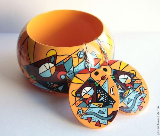 """Серьги ручной работы. Ярмарка Мастеров - ручная работа. Купить Серьги """"Абстракция"""" с ручной росписью. Handmade. Оранжевый, голубой, коричневый"""