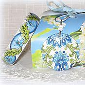 Украшения handmade. Livemaster - original item Blue, green stack of bracelets, pendant and earrings Go East-2. Handmade.