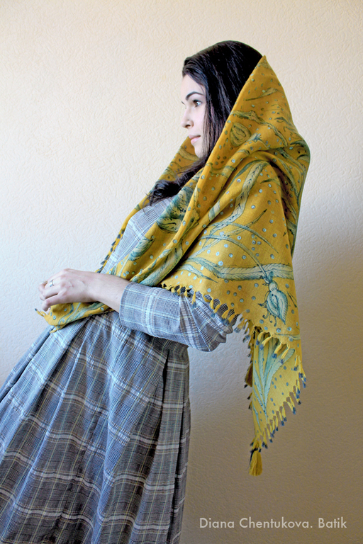 Шерстяной платок батик `Горчичный`. Диана Чентукова. Батик. Diana Chentukova. Batik.