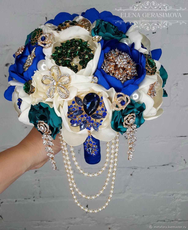 Свадебные цветы ручной работы. Ярмарка Мастеров - ручная работа. Купить Брошь букет невесты пионовый синий с изумрудом. Handmade.