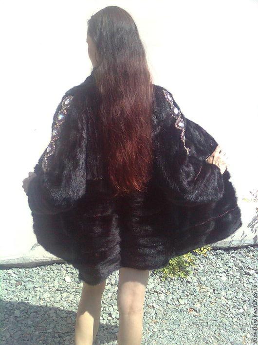 Верхняя одежда ручной работы. Ярмарка Мастеров - ручная работа. Купить Шуба норка, с вышивкой. Handmade. Черный, бисер