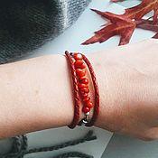 Украшения ручной работы. Ярмарка Мастеров - ручная работа Кожаный браслет с кораллом. Handmade.