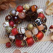 """Украшения ручной работы. Ярмарка Мастеров - ручная работа """"Красный бархат"""" комплект браслетов. Handmade."""