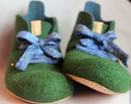 Обувь ручной работы. Ярмарка Мастеров - ручная работа. Купить Сине-зеленые домашние валеночки. Handmade. Зеленый, теплые вещи