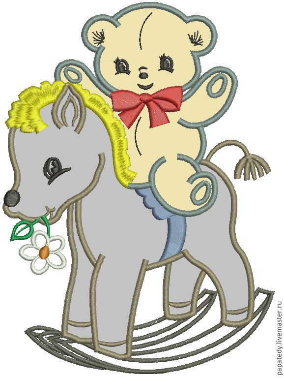 лошадка качалка и мишка апликация дизайн машинной вышивки, Иллюстрации, Кишинев, Фото №1