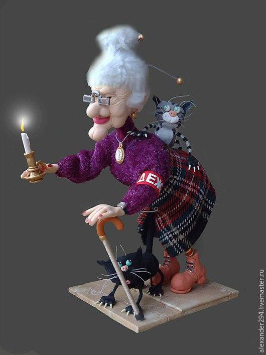 Коллекционные куклы ручной работы. Ярмарка Мастеров - ручная работа. Купить Ночной дозор-3. Handmade. Разноцветный, клюка, пенопласт