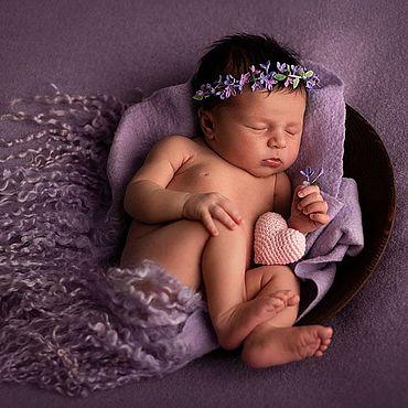 Украшения ручной работы. Ярмарка Мастеров - ручная работа Диадемы:сиреневый венок для новорожденной, реквизит для фотосессии. Handmade.