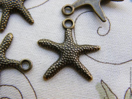 """Для украшений ручной работы. Ярмарка Мастеров - ручная работа. Купить Подвеска """"Морская звезда"""", золото, бронза. Handmade. Хаки"""