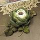 Броши ручной работы. Ярмарка Мастеров - ручная работа. Купить Вечерний Цветок Лесной Феи. Брошь - цветок из ткани и кожи. Handmade.