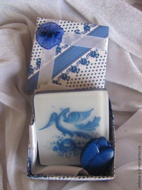 """Мыло ручной работы. Ярмарка Мастеров - ручная работа. Купить Мыло """"ГЖЕЛЬ"""" (квадрат). Handmade. Цветы, корзина с цветами"""