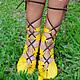 """Обувь ручной работы. Ярмарка Мастеров - ручная работа. Купить Кожаные сандалии ручной работы """"Yellow Super Sexy"""". Handmade."""