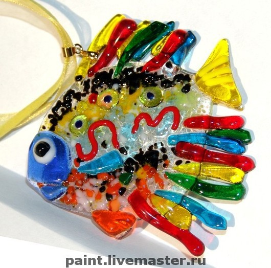 Pendants handmade. Livemaster - handmade. Buy Pendant Murano glass. Colorful fish. fusing. glass. gift..Pendant, glass, fish