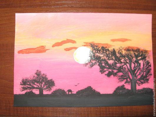 """Пейзаж ручной работы. Ярмарка Мастеров - ручная работа. Купить Картина  """"Знойный вечер"""". Handmade. Рыжий, знойный вечер, гуашь"""