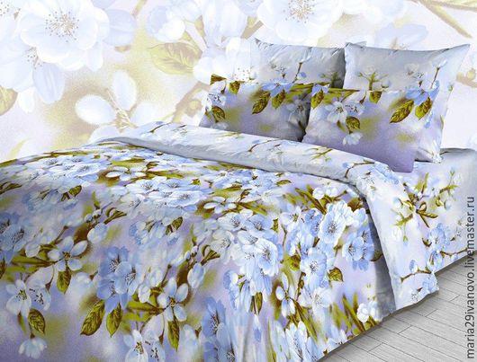 """Текстиль, ковры ручной работы. Ярмарка Мастеров - ручная работа. Купить Комплект постельного белья из бязи """"Сиреневое утро"""". Handmade."""