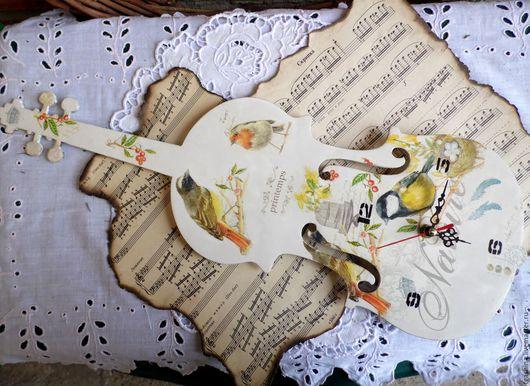 """Часы для дома ручной работы. Ярмарка Мастеров - ручная работа. Купить Часы """"Скрипка"""". Handmade. Комбинированный, стрелки для часов"""